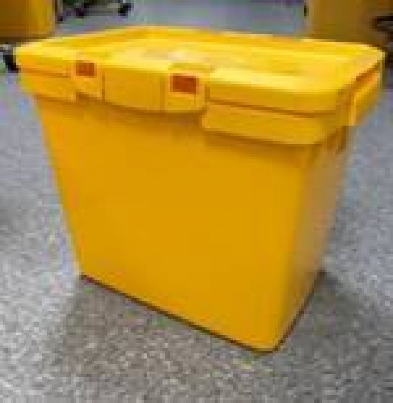 Yellow autoclavable bin for contaminated solid or liquid waste.