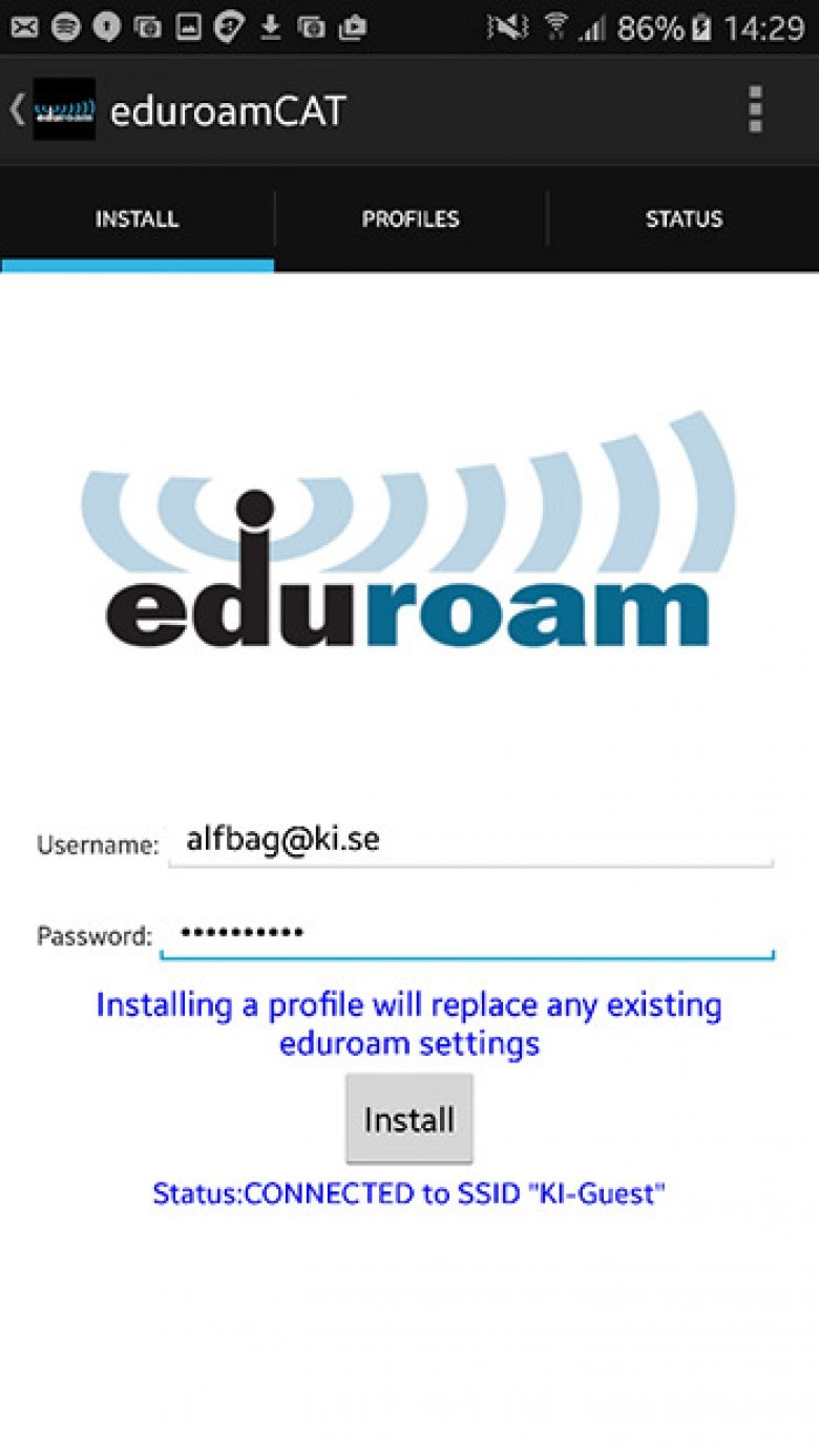 Screenshot for the installation of eduroam on Android devices.