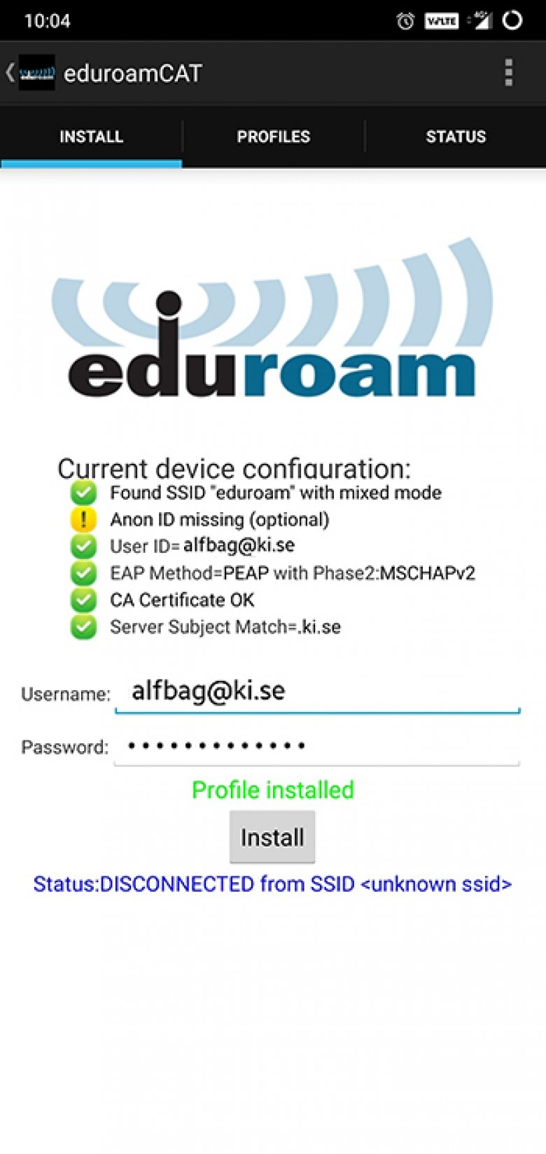 Screenshot for installation of eduroam on an Android device.
