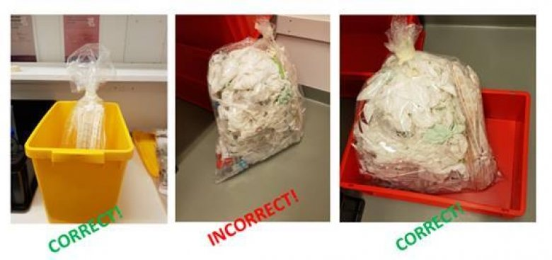 three images showing correct and incorrect labelling of waste.