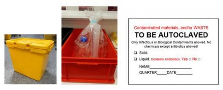 "Yellow autoclavable bin and red container for contaminated materials or glass. ""To be autoclaved"" label for contaminated and/or waste."